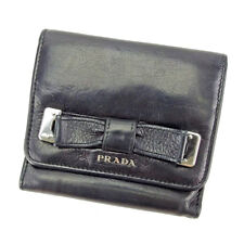 Prada Wallet Purse Trifold Black Silver Woman Authentic Used T3697