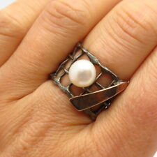 925 Sterling Silver 2-Tone Real Button Pearl Wire Grid Wide Band Ring Size 7 3/4