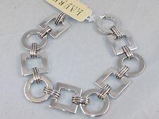 Ralph Lauren Silvertone Deco Small Square Circle Etched Connector 7 3/4 Bracelet
