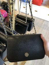 NWT TORY BURCH Robinson adjustable Chain crossbody bag in black Patent Leather
