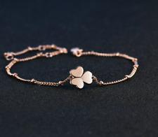 Bracelet Femme Fin Trèfle Pétales Coeurs Plaqué Or Rose - Bijoux des Lys