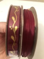 "New 2 Ribbon Rolls Burgandy/Maroon 1/8"" x 6-Yds+2feet & 3/8"" x 9 ft w Gold"