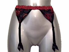 New Black Suspender Belt UK 8 - 10 Red & Orange Embroidery Barbara Of Paris