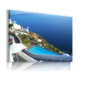 Beautiful Scenery Of Thira, Santorini GREECE CANVAS WALL ART G42 UNFRAMED