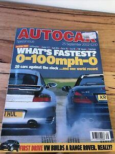Autocar Car magazine SEPT 2002 75 RR450 RS6 STI EVO V111 V70R X5 SZ WRX ST220