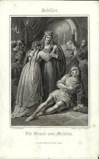 Stampa antica SCHILLER Die Braut von Messina 1860 Old antique print Alte stich
