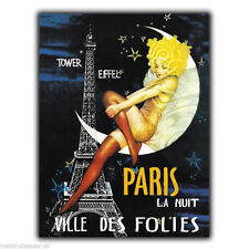 METAL SIGN WALL PLAQUE PARIS LA NUIT ville des folies poster art picture print