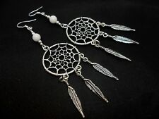 A PAIR LONG DREAMCATCHER WHITE BEAD EARRINGS WITH 925 SOLID SILVER HOOKS. NEW..