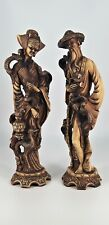 Vintage Tall Handcarved Chinese Figures of Man and Woman in resin, fine detail