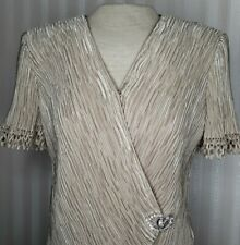 Vintage Patra Womens Sz 10 Evening Formal Top Wrap Front Bling Buckle S/S EUC