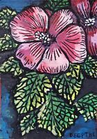 ACEO original miniature painting Ink pen & Watercolor - Hibiscus