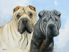 Original Oil painting - portrait of two shar pei - dog  - by j payne