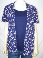 White Stag Blue Pink Short Sleeve 2Fer Floral Top Womens Size Small 4 6
