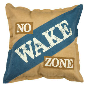 No Wake Zone Accent Throw Pillow 15X15 Inches Tan and Blue