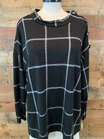 NEW~$44~NOTATIONS Women 1X~2X Plus Black/White-Plaid Poly Long-Sleeve Top Shirt