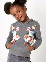 Girls Grey Floral Hoodie Various Ages 8 - 14 Free Postage