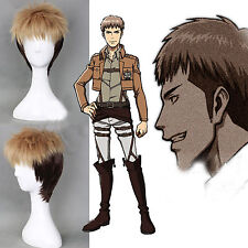 Jean Kirstein Attack On Titan Layered Short Halloween Cosplay Wigs+free wig cap