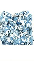 Rebecca Malone Paisley Blouse Size XL White Blue Black Shirt 82779