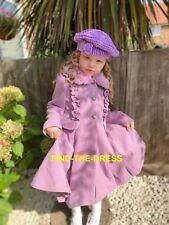 Monsoon Purple Girls Fur Neck Party Dress Winter Jacket Coat Age 3 to 13 Yrs NEW