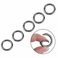 5pcs Mini Circle Round Carabiner Spring Snap Clip Hook-Keychain-Hiking_/au U3K1