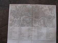 1838 Original Map of London, Londres, England, United Kingdom