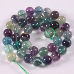 "6-10mm Natural Stone Genuine Fluorite Gemstone Beads For Jewelry Making 15"""