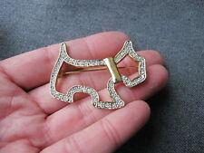 Vintage clear rhinestones golden metal Scottie dog pin