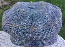 STETSON GERMANY HATTERAS IVY DRIVER CAP BLUE GRAY LINEN WOOL GERMAN L 59cm 7 3/8