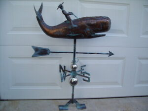 3D Whale Weathervane Antiqued Copper Finish Fish Weather Vane Hand Crafted