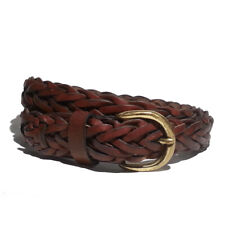 "Gloria Vanderbilt Women Leather Braided Belt Size L 30mm Wide Length 40"""