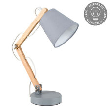 Retro Style Wood & Grey Bedside Desk Table Lamp With Integrated LED - 2700k Warm