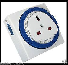 24 HOUR MAINS PLUG TIMER SWITCH TIME CLOCK SOCKET UK 3 PIN MECHANICAL 13AMP NEW