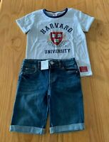 Girls size 8 Grey HARVARD tee t-shirt & blue denim knee length shorts Target NEW