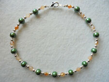 Magnetic ankle Bracelet Green Magnetic Beads Peach Crystals Magnetic Anklet 9¾""
