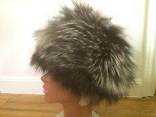 Marti Silver Grey Authentic Fox Fur Trapper Hat Nuevo Larado Mexico