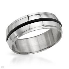 SUPERB GENTLEMEN METALLIC WITH BLACK RUBBER STAINLESS STEEL RING SIZE 13 #133
