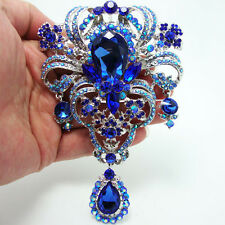 "5.04"" Flower Pendant Brooch Pin Blue Rhinestone Crystal"