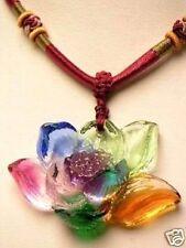 Chinese Jewelry LiuLi Glass Flower Amulet