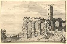 """Jan Van De Velde, """"Ruins...""""16th C Dutch, Original Etching"""