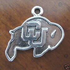 new! PEWTER CU BUFFS LOGO CHARM University of Colorado Buffaloes bead jewelry