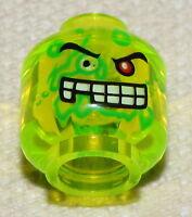 Lego 20 New Trans-Neon Green Minifigure Head Slime Face 1 Red Eye White Teeth