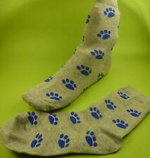 2 Paar Damen Herren Socken Hund Katze Pfote Pfoten Tatze grau blau Gr.37-40 NEU
