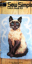 """Siamese Cat"" Latch Hook Rug Kit 18 x 24"" *Hook* Included Sew Simple"