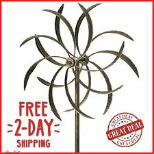 Gentil Garden Wind Spinner Windmill Yard Decor Kinetic Metal Outdoor Art Sculpture