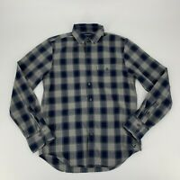 American Eagle Outfitters Mens Shirt Size S Navy Blue Plaid Slim Fit Button Down
