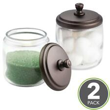 Canister Jars Organizer Storage Bathroom Home Office Set 2 QTips Cotton Ball NEW