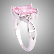 Engagement Emerald Cut Pink White Topaz Gemstone Silver Ring 925 Size 10 Gifts