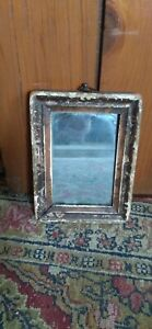 Rare Early 19thC Antique Small Primitive Worn Wood Painted Mirror Sq.Nails 5.75""