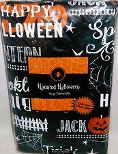 "Haunted Halloween Vinyl Tablecloth 52"" x 120""Oblong Seats 10-12 HALLOWEN SAYINGS"