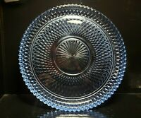 Diamond Point Ice Blue by Indiana Glass Torte Plate Round Cup Cake Platter MCM